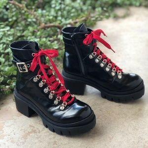 Jeffrey Campbell Czech Black Red Combat Boots